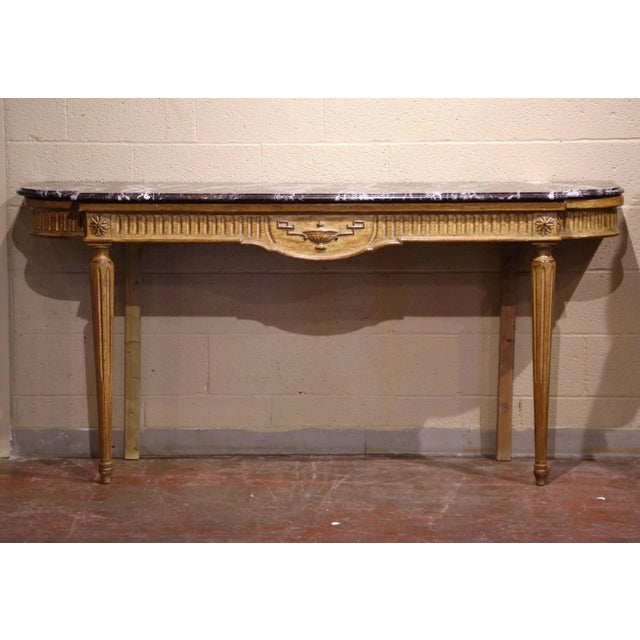 Midcentury French Louis XVI Carved and Painted Console Table With Marble Top For Sale - Image 12 of 12