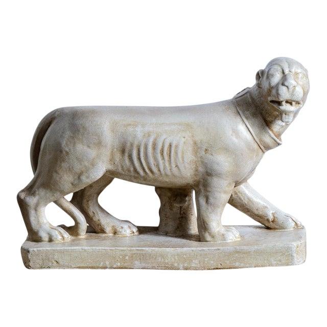 Italian Glazed Terra Cotta Neapolitan Mastiff Dog Sculpture For Sale