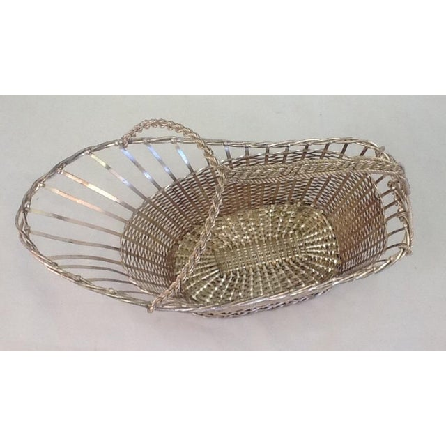 1970s Silver Plate Woven Wine Bottle Basket - Image 3 of 6