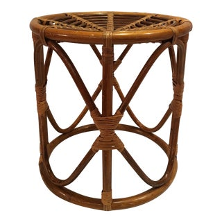 1960s Boho Chic Rattan Low Stool/Side Table For Sale
