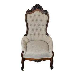 Vintage L Mayer Victorian French Country Walnut Carved Parlor Chair For Sale