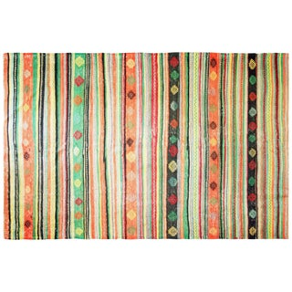 "1950s Turkish Striped Kilim - 6'4"" X 9'7"" For Sale"