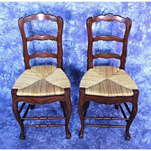 French Country Rush Seat Counter Chairs - A Pair - Image 8 of 8