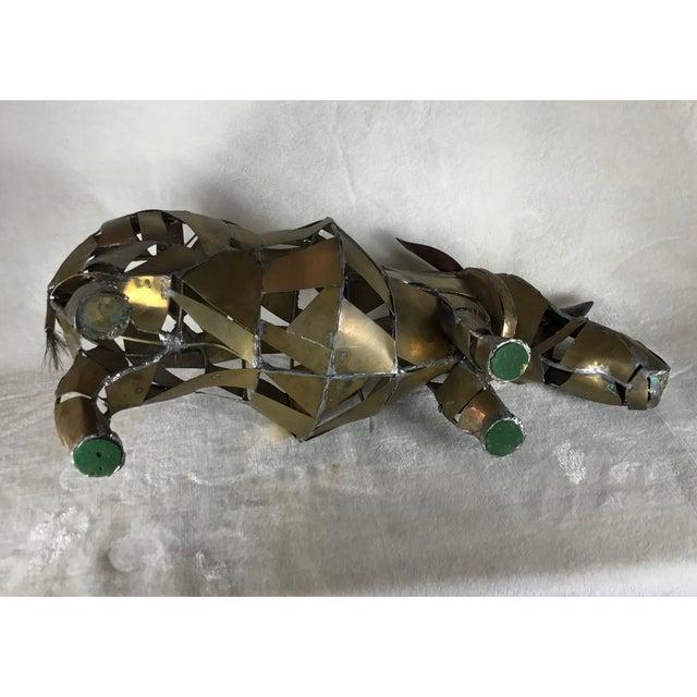 Vintage Mid-Century Brutalist Brass Copper Rhino Freestanding Sculpture For Sale - Image 9 of 11