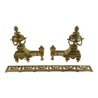 French Antique Brass & Bronze Ormolu Louis XVI Andiron Set - Set of 3 For Sale