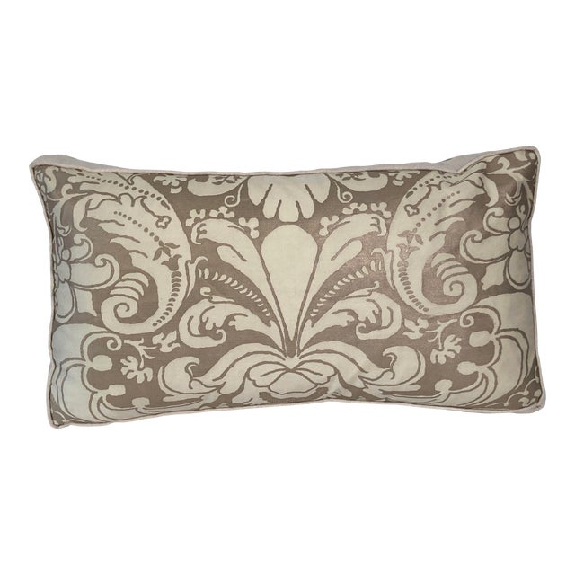 Contemporary Fortuny Bronze and Cream Pillow For Sale