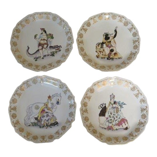 Chelsea House Paint Decorated Wall Plates - Set of 4 For Sale