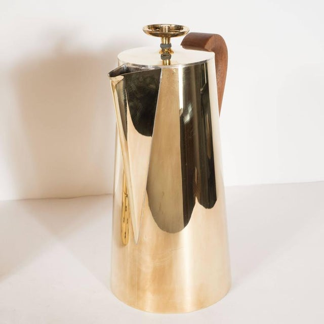Gold Tommi Parzinger for Dorlyn Silversmiths Coffee/Tea Service in Brass and Walnut For Sale - Image 8 of 11