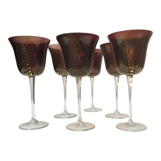 Cranberry With Gold Murano Vine Glasses - Set of 6 For Sale