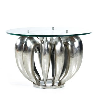 Contemporary Circular Metal Brutalist Side Table With Glass Top Preview