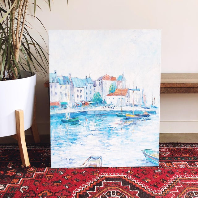 Vintage Impressionist European Mediterranean Coast Oil Painting For Sale - Image 9 of 9