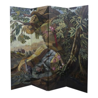 Maitland Smith Hand Painted Room Divider Floor Screen For Sale