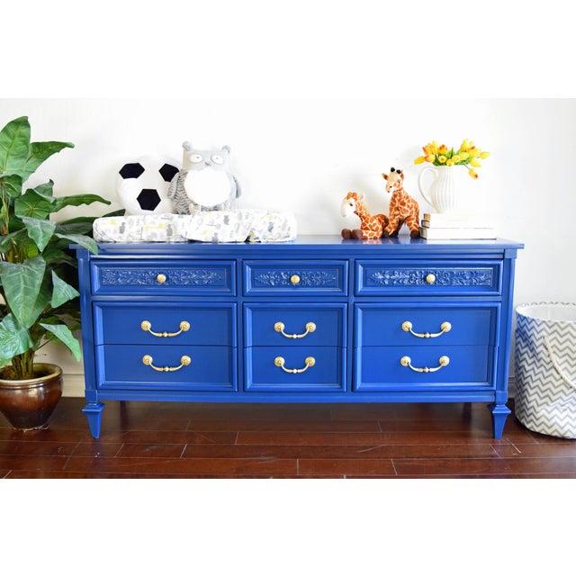 Wood Permacraft Nine Drawer Navy Blue Dresser With Carved Front For Sale - Image 7 of 13