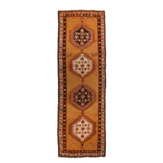 Antique Sarab Persian Geometric Orange and Red Wool Runner Rug - 3′5″ × 10′10″ For Sale
