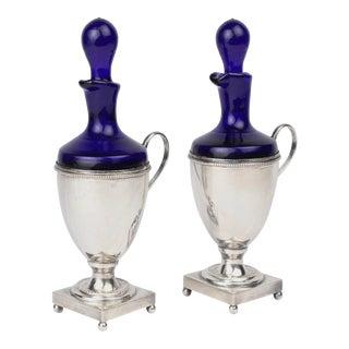 Silver Plate & Cobalt Blue Glass Oil & Vinegar Cruets by Israel Freeman - A Pair For Sale