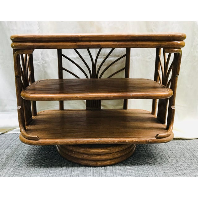 1980s Boho Chic Swivel Split Bamboo Rattan Console Table For Sale - Image 12 of 12