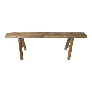 Antique Elm Wood Long Bench For Sale