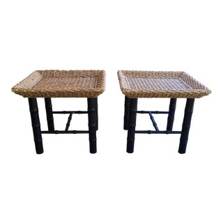 Contemporary Bamboo/Rattan Side Tables - a Pair For Sale