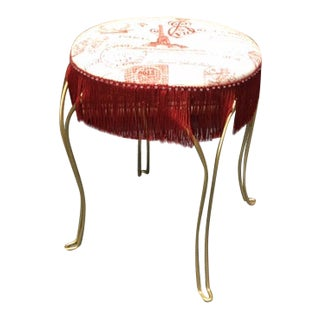 Parisian Fringed Vanity Low Stool For Sale