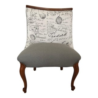 Vintage French Cottage Style Script Print Decorative Chair