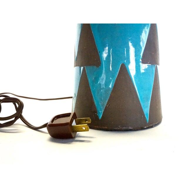 Raymor Turquoise Triangle Lamp - Image 4 of 6