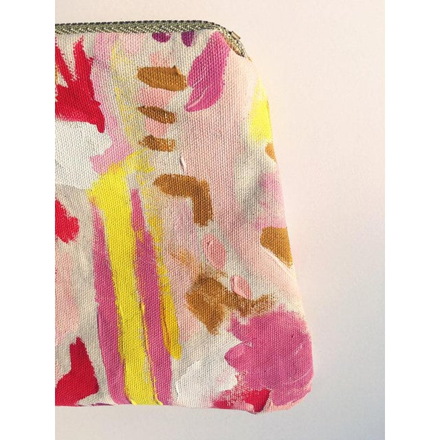 """Abstract """"Painted Lady Pouch"""" Hand Painted Abstract Purse For Sale - Image 3 of 6"""