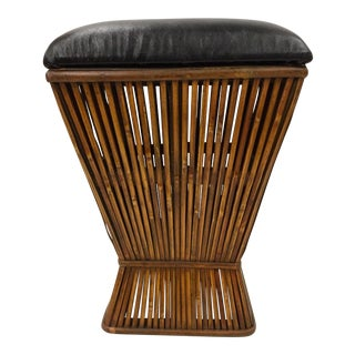 1990s Vintage Rattan & Leather Storage Seat For Sale