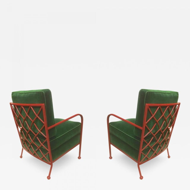 Jean Royère Pair of Croisillon Armchairs in Red Lacquered Wrought Iron For Sale - Image 9 of 9