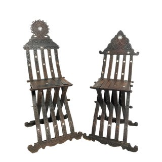 Early 20th Century His & Hers Syrian Savonarola Chairs - a Pair For Sale
