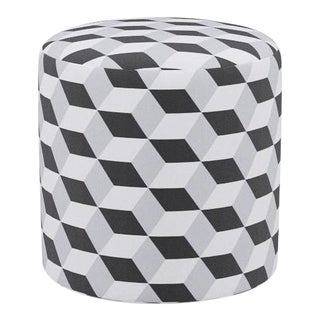 Drum Ottoman in Black Cube For Sale