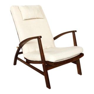 1960s Mid Century Modern Reclining White Linen Arm Chair