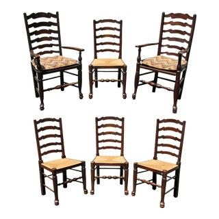 Late Georgian Elmwood Windsor Dining Chairs - Set of 6 For Sale