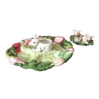Fitz and Floyd French Divided Platter and Salt and Pepper Shaker Set - 4 Pc. Set For Sale