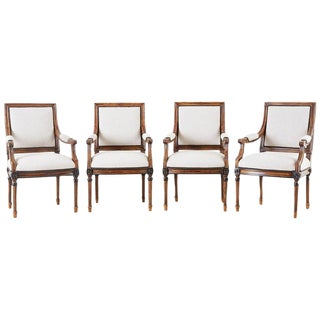 Louis XVI Style Dining Armchairs - Set of 4 For Sale