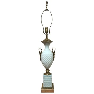 19th Century Empire Bulle De Savon Opaline Lamp For Sale