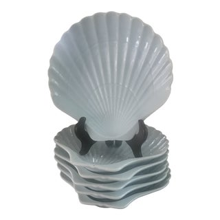 Robins Egg Blue Scallop Shell Porcelain Majolica Plates - Set of 6 For Sale