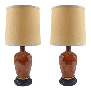 Petite Mid-Century Modern Ceramic Table Lamps-A Pair