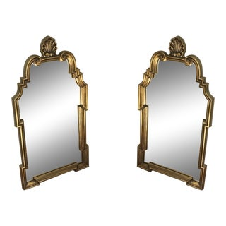Vintage Queen Anne Gold Scallop Shell Crest Mirrors - a Pair For Sale