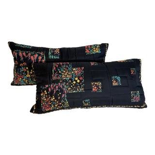 Black & Floral Silk Twill Scarf Pillows - a Pair For Sale