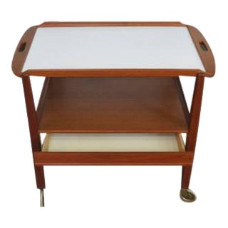 Scandinavian Teak Bar Cart With Drawer and Removable Tray