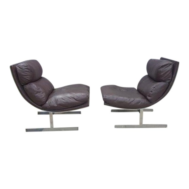 Mid-Century Modern Kipp Stewart for Directional Chrome Lounge Chairs - A Pair For Sale
