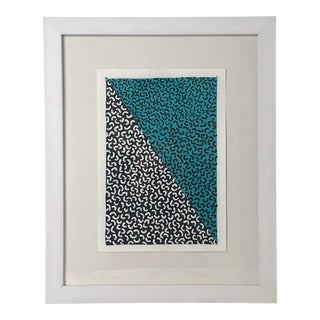 Framed Contemporary Geometric Blue Painting For Sale