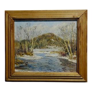 1930s Vintage Arthur Powell Ten Mile River, NY Winter Landscape Oil Painting For Sale