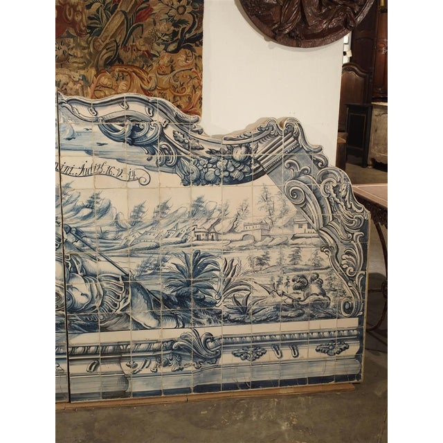 Mediterranean Monumental 3-Piece 18th Century Azulejo Mural Panel From Portugal For Sale - Image 3 of 13