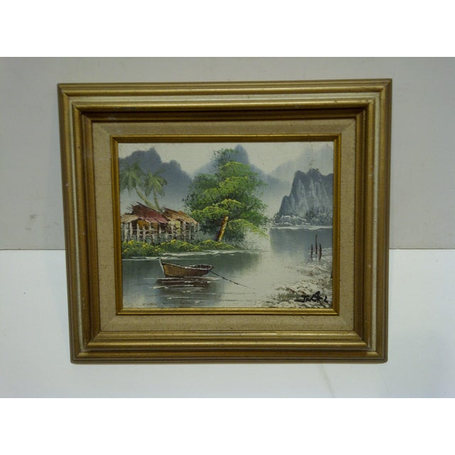 "J. Baker Original Framed ""Village on the Water"" Painting on Canvas - Image 6 of 6"