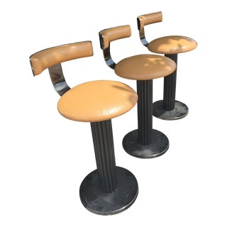 1980s Contemporary Design for Leisure Metal Bar Stools - Set of 3