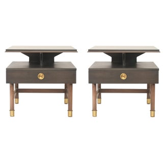Vintage Mid-Century Modern Walnut Nightstands - a Pair