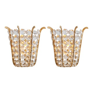 Austrian Beaded Crystal Sconces - A Pair For Sale