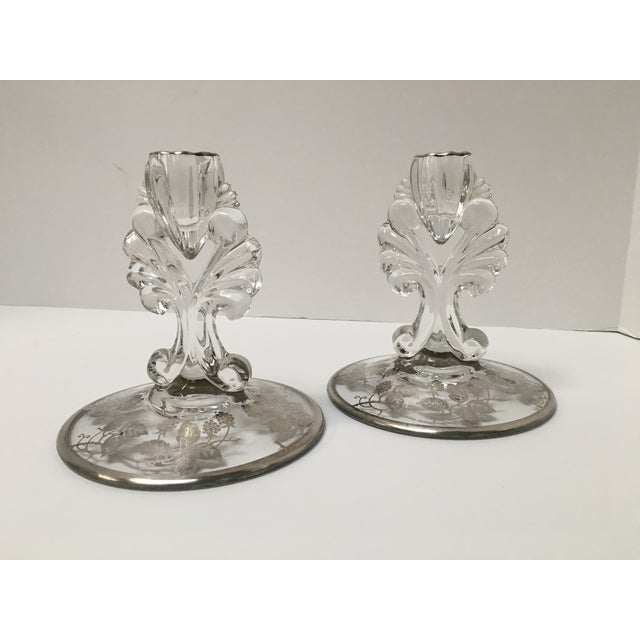 Art Deco Silver Glass Candle Holders - PaiR - Image 3 of 8