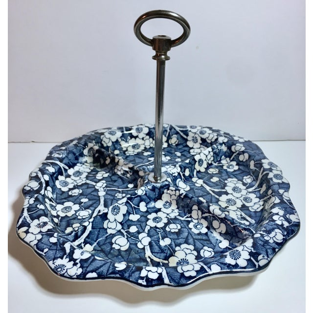 "1930s Stoke on Trent/Empire Porcelain ""Hawthorn"" Blue and White Divided Serving Tray For Sale - Image 11 of 12"